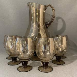 Smoked and Etched Glass Water Set