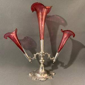 Walker and Hall Silver Plated and Cranberry Glass Epergne