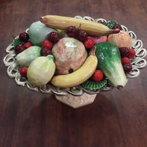 Large Italian Ceramic Bowl Of Fruit Table Centre