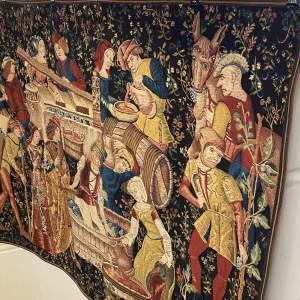 Superb Flemish Tapestry Wall Hanging Grape Harvest Scene Stunning