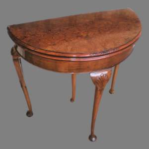 Queen Anne Style Burr Walnut Demi Lune Card Table