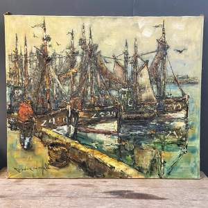 Large Oil on Canvas of Sailing Yachts