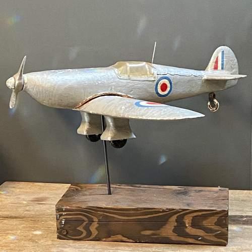 WW2 Aeroplane Carved Wooden Weather Vane image-1