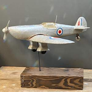WW2 Aeroplane Carved Wooden Weather Vane
