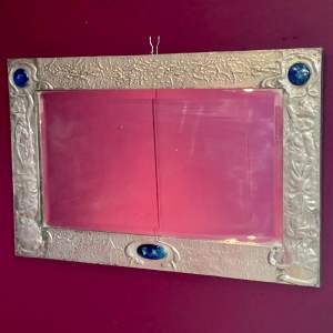 Rare Large Arts and Crafts Pewter Mirror Attributed to Libertys