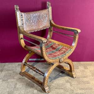19th Century Scottish Oak Savonarola Chair