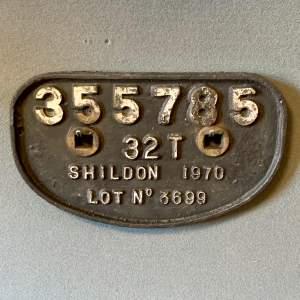 Original 1970 Cast Iron Railway Wagon Plate
