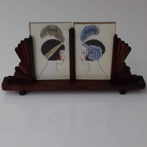 Art Deco Twin Oak Photo Frame image-1