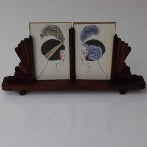 Art Deco Twin Oak Photo Frame