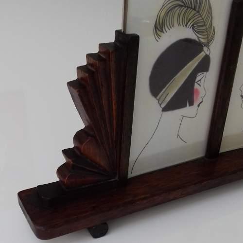 Art Deco Twin Oak Photo Frame image-2