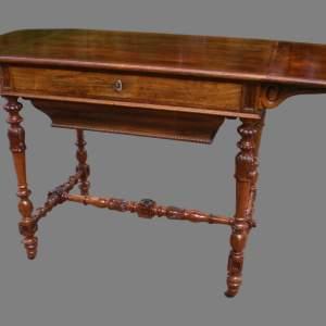 Victorian Walnut Sofa Type Work Table