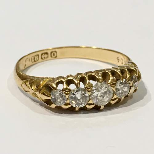 18ct Gold Diamond Five Stone Ring Birmingham 1863 image-1