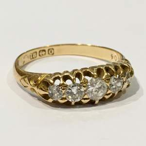 18ct Gold Diamond Five Stone Ring Birmingham 1863