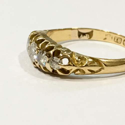 18ct Gold Diamond Five Stone Ring Birmingham 1863 image-2