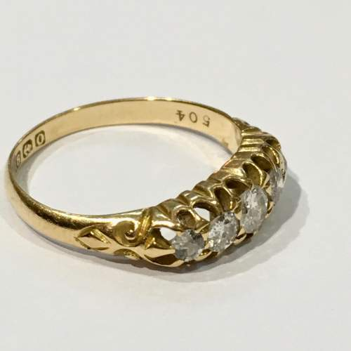 18ct Gold Diamond Five Stone Ring Birmingham 1863 image-3