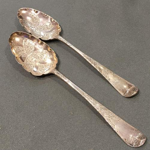 Pair Silver Serving Spoons London 1771-2 image-1