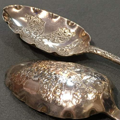 Pair Silver Serving Spoons London 1771-2 image-5