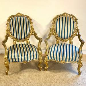 Pair of 19th Century Gilt Armchairs