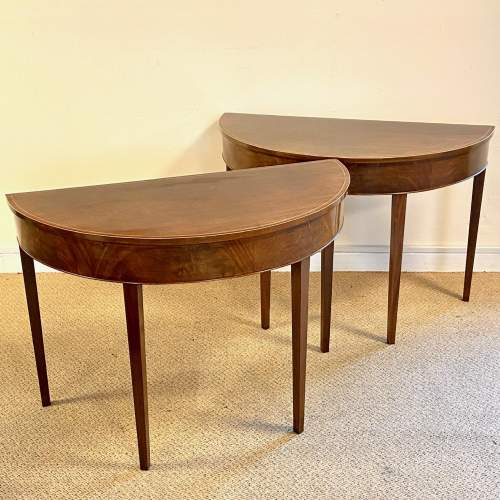 Pair of 18th Century Demi Lune Side Tables image-1