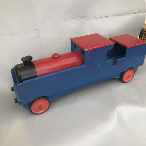 A Large Wooden Hand Made Painted Toy Train image-3