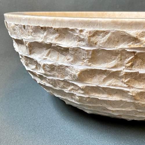 Beautiful Layered Natural Calcified Limestone Basin image-3