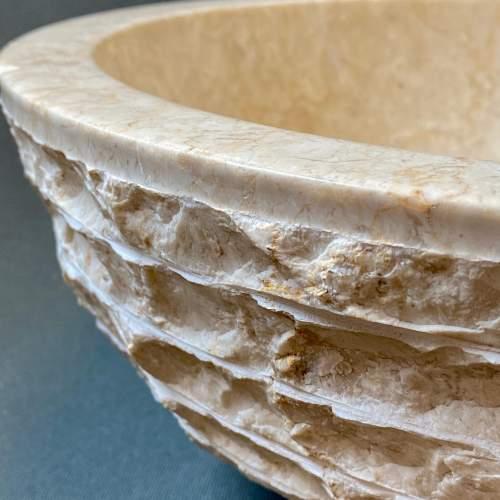 Beautiful Layered Natural Calcified Limestone Basin image-5