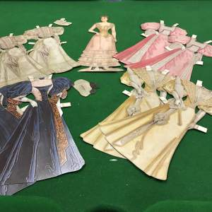 1930s Card  Sophisticated Young Lady  Doll & Four Outfits