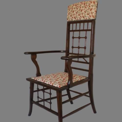 Arts and Crafts Mahogany Armchair image-1