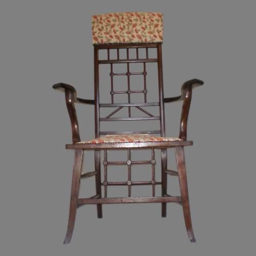Arts and Crafts Mahogany Armchair image-5