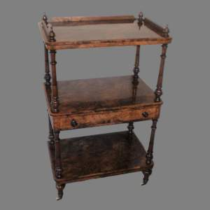 Early Victorian Three Tier Burr Walnut What-Not Display Stand
