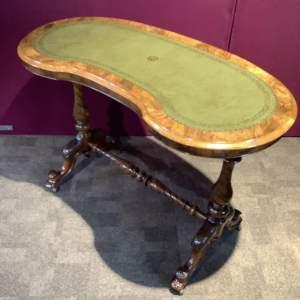 Victorian Burr Walnut Kidney Shape Writing Table