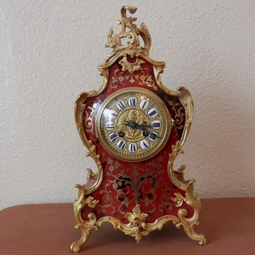 French Red Boulle Mantel Clock Circa 1890 image-2