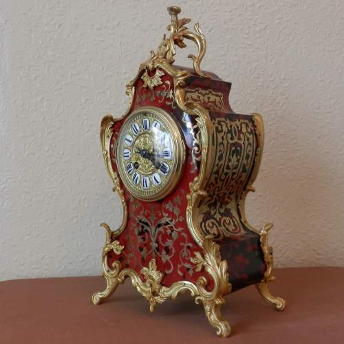 French Red Boulle Mantel Clock Circa 1890 image-1