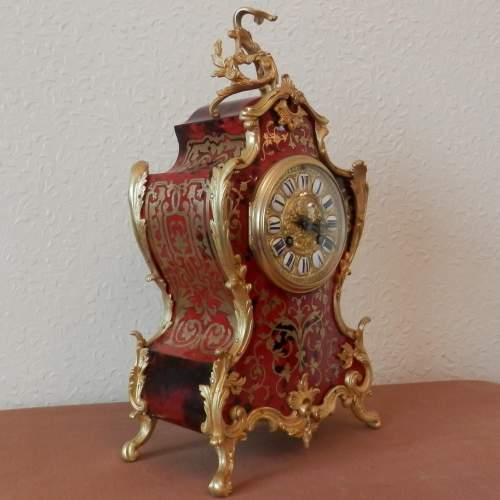 French Red Boulle Mantel Clock Circa 1890 image-3