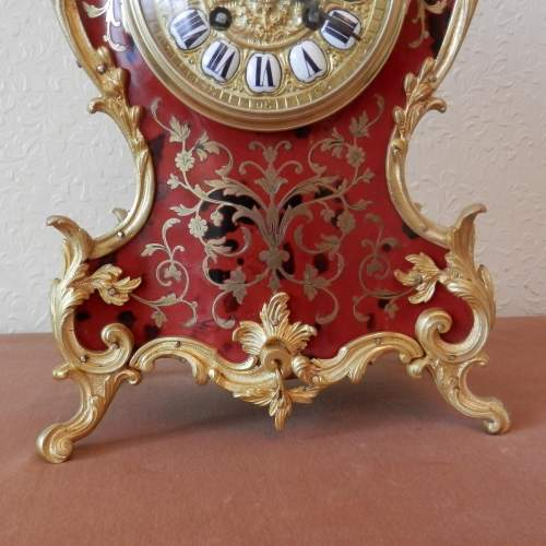French Red Boulle Mantel Clock Circa 1890 image-4