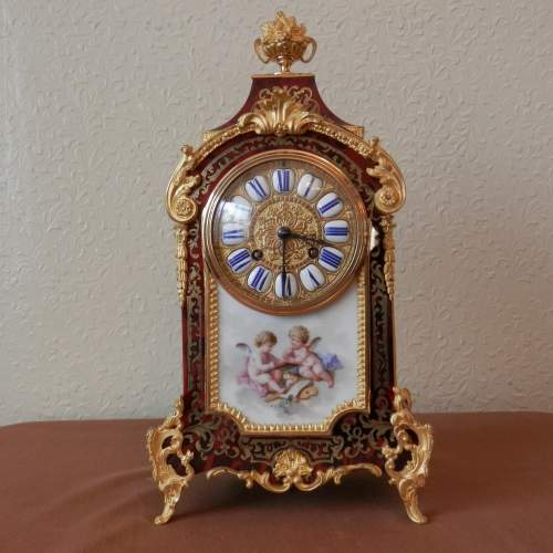 French Boulle Mantel Clock with Porcelain Plaque Circa 1890 image-1
