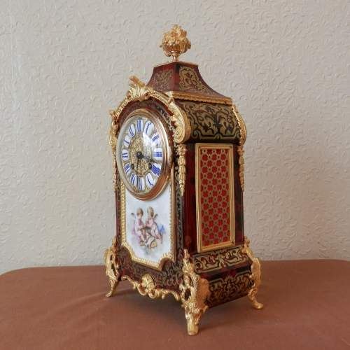 French Boulle Mantel Clock with Porcelain Plaque Circa 1890 image-2