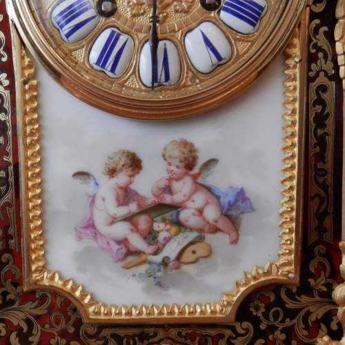 French Boulle Mantel Clock with Porcelain Plaque Circa 1890 image-3