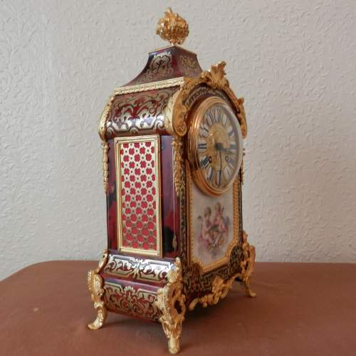 French Boulle Mantel Clock with Porcelain Plaque Circa 1890 image-5