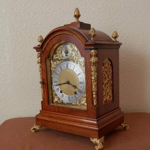 Mahogany Mantel Clock by Winterhalder and Hoffmeir Germany image-1
