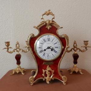 Red French Three Piece Clock Garniture with Gilt Bronze Mounts