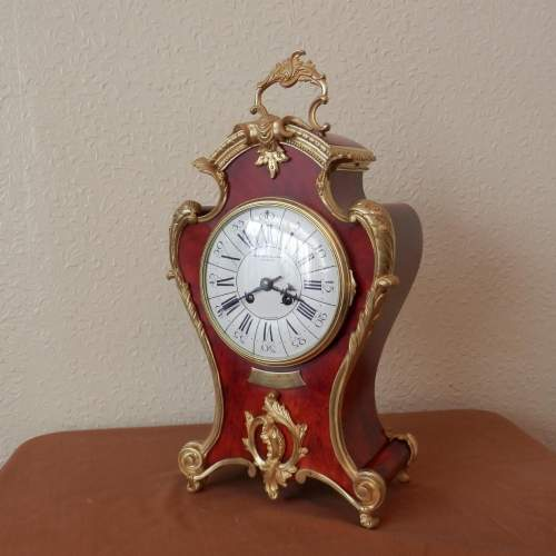 Red French Three Piece Clock Garniture with Gilt Bronze Mounts image-2