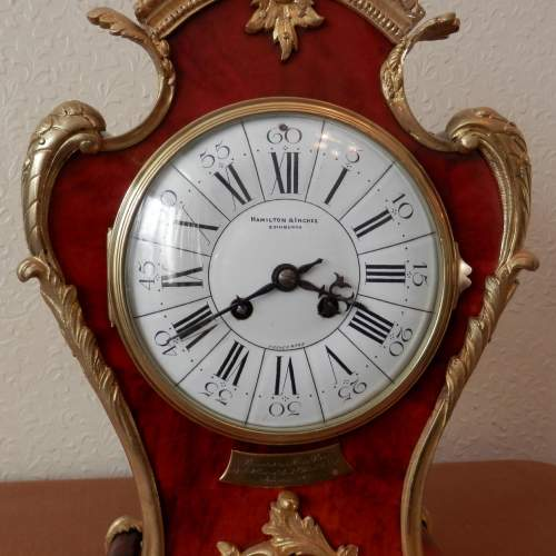 Red French Three Piece Clock Garniture with Gilt Bronze Mounts image-3
