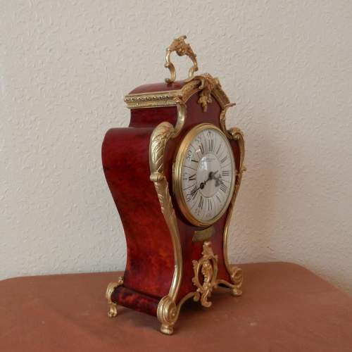 Red French Three Piece Clock Garniture with Gilt Bronze Mounts image-4