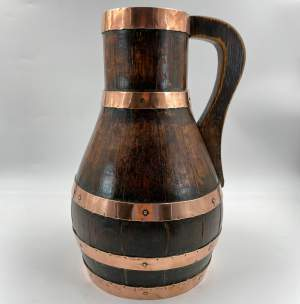 Georgian Coopered Wooden Brass Banded Ale Jug