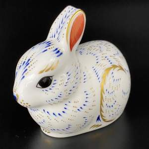 Royal Crown Derby Garden Bunny Paperweight with Gold Stopper