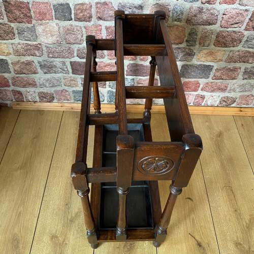 Hand Carved Victorian Oak Walking Stick  and Umbrella Stand image-3