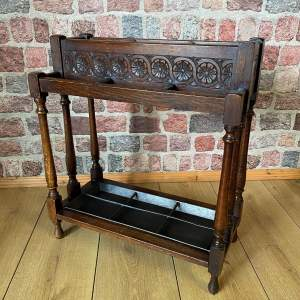 Hand Carved Victorian Oak Walking Stick  and Umbrella Stand
