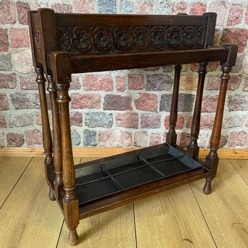 Hand Carved Victorian Oak Walking Stick  and Umbrella Stand image-5