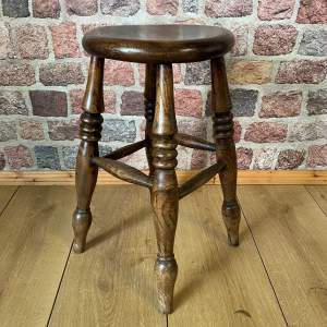 Victorian Turned Elm Kitchen Stool circa 1850